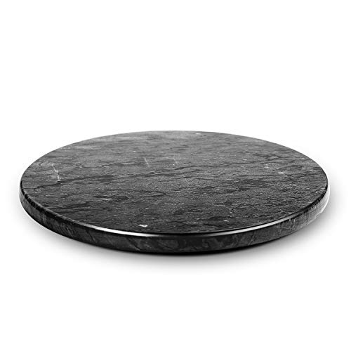 Flexzion Marble Pastry Board - Black, 12 inch Round Non-Stick Stain & Heat Resistant Charcuterie Cheese Dough Cutting Serving Cutlery Board Tray for Parties, -