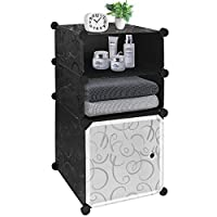 Honey Home Modular Layer 3 Nightstand DIY Black&White Plastic End Table Simple Installation Bedside Portable Side Tables for Bedrooms & Living Room with Door