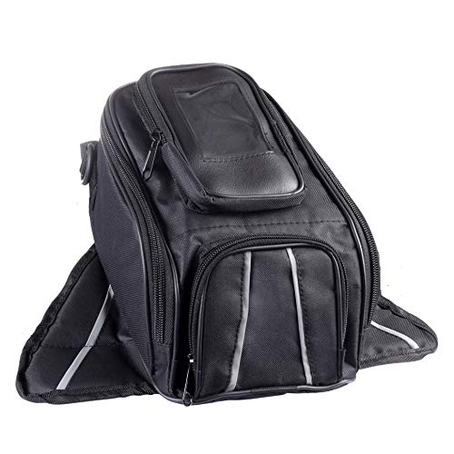 TNC Motorcycle Tank Bag, Water Resistant with Super Strong Magnetic Gas Oil Fuel Tank Bag Black