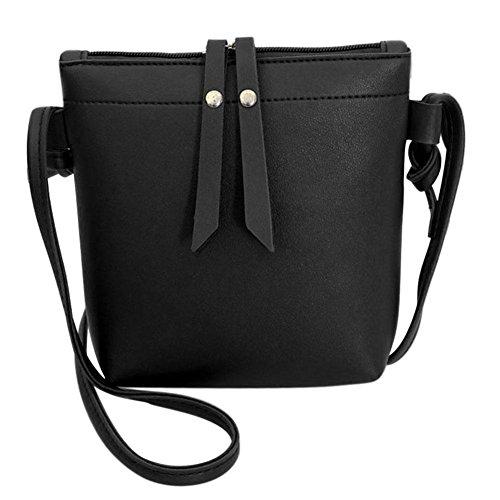 Leather Casual Zipper Small YouN Bags Women Shoulder Messenger PU Pure Black Handbags 180q0wr5