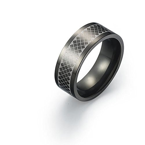8mm Black Titanium Ring for Mens Special Pattern Design Comfort Fit SZ 9-12 Free Engraving Service