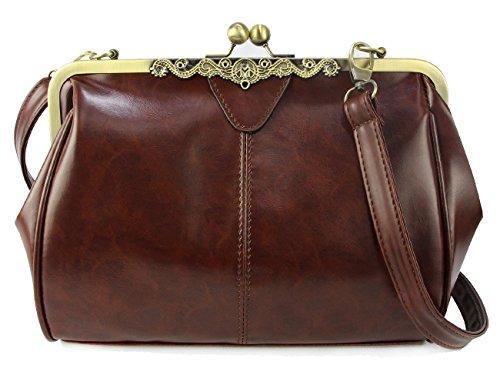 Micom New Small Retro Vintage Kiss Lock Imitation Leather Purse Handbag Totes Bag for Women,girls -