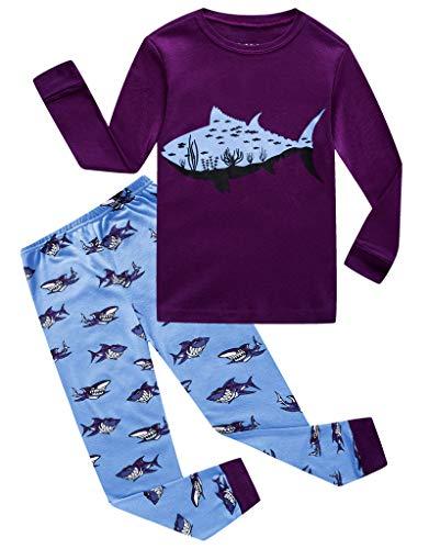 (Shark Little Boys Long Sleeve Pajamas Sets 100% Cotton Pyjamas Kids Pjs Size 5 Purple)