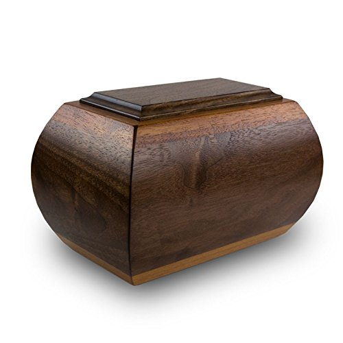 Mahogany Urn - Heritage Walnut and Mahogany Wood Cremation Urn - Extra Large - Holds Up to 230 Cubic Inches of Ashes - Brown Memorial Urns for Ashes