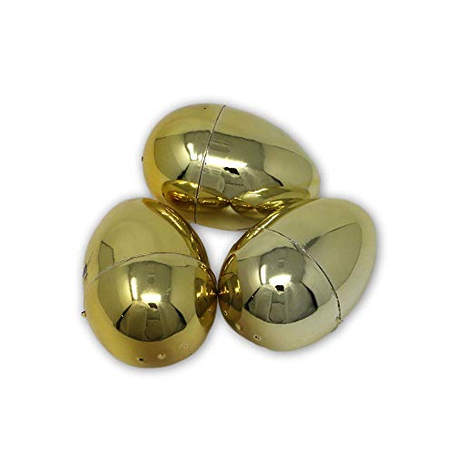 Metallic Gold Colored Jumbo Plastic Easter Eggs for Party or Egg Hunt Decoration - 3 Piece Set ()