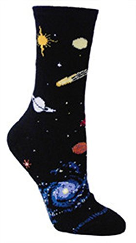 Celestial Space Black Ultra Lightweight Cotton Crew Socks - Made in USA