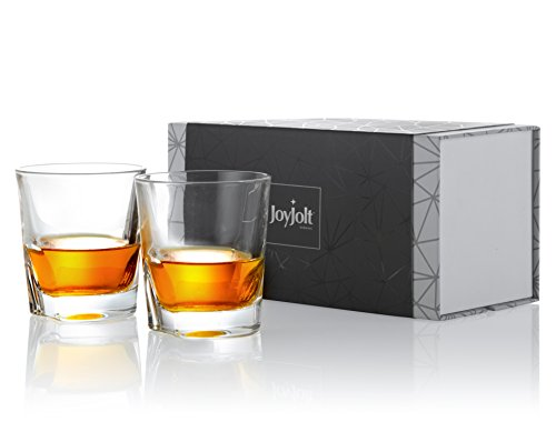 JoyJolt Carina Crystal Whiskey Glasses, Old Fashioned Whiskey Glass 8.4 Ounce, Ultra Clear Crystal Scotch Glass for Bourbon and Liquor Set Of 2 non-leaded crystal Glassware