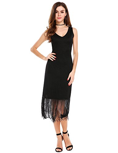 Fringe Dress Black (ANGVNS Women V-Neck Sleeveless Fringed Hem Midi Summer Casual Dress,Black,Large)
