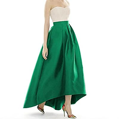 Lisong Women Ankle High Waist Length Taffeta Party Prom Skirt