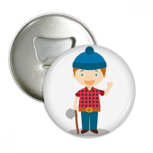 Blue Hat Shirt Canada Cartoon Round Bottle Opener Refrigerator Magnet Badge Button 3pcs Gift
