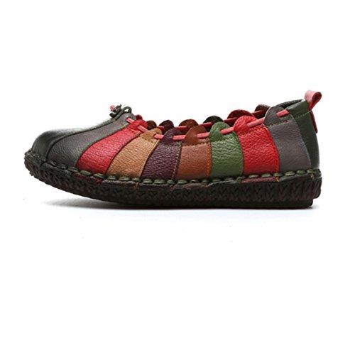 Mocassin À Enfiler Socofy, Womens Rainbow Weave Mocassin Vintage En Cuir, Mocassin Souple Et Décontracté, Chaussures De Marche Vert