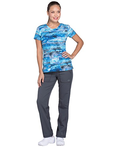 (Dickies Fashion Prints Women's V-Neck Abstract Print Scrub Top X-Large)