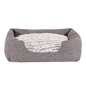 dibea Cama para perros con cojín reversible tela mezcla cómodo sofá, Gris, (M) 80×60 cm