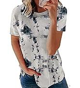 XCHQRTI Womens Short Sleeve Shirts Cute Print Crewneck T-Shirt Loose Casual Tees Tops