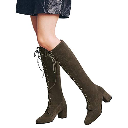UONQD Women Straps Slim Lace-up High Boots Over The Knee Boots High Heels Martin Shoes(US:9.5,Green)