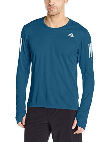 adidas Mens Running Response Long Sleeve Tee, Blue Night, Large