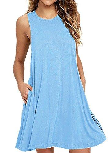 - PCEAIIH Women's Sleeveless Pocket Casual Loose T-Shirt Dress (Small, Light Blue)