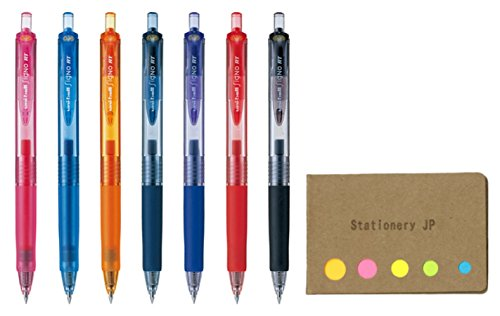 (Uni-Ball Signo RT Retractable Gel Ink Pen, Rubber Grip, Micro Point 0.38mm, 7 Color Ink, Sticky Notes Value Set)