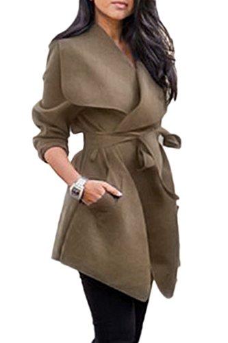 Oversize Trenchcoat Khaki La Outwear Casual Cuello Cintura Mujer Irregular YnBAfBEp
