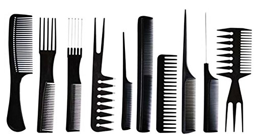 10 pcs Professional High Quality Hair Styling Comb Set Black Brush Barbers Hairdressing Pik Concept4u