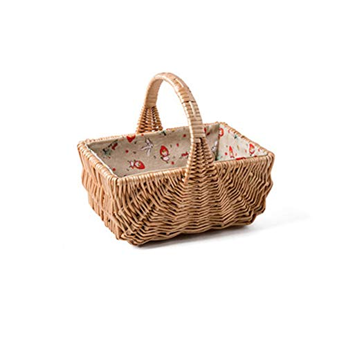 (NBRTT Handcraft Woven Storage Basket, Rectangular with Handle Wicker Basket Organizer Natural Nesting Shelf Baskets Container Bins Removable Liners )