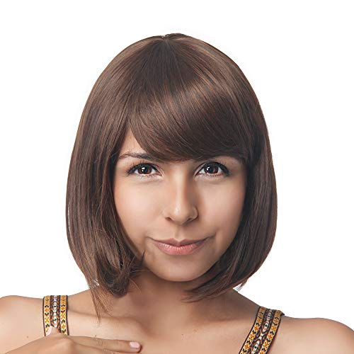 Rabbitgoo Halloween Short Bob Hair Wigs 13.3 Straight with Flat Bangs, Synthetic Wig for Women Cosplay Daily Party, Soft and Natural, Brown