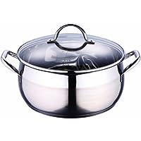 Bergner Induction Faitout en Acier Inoxydable Marmite Universelle casseroles avec Couvercle en Verre (Capacité: env. 8l + Sol: env. 26cm de diamètre)
