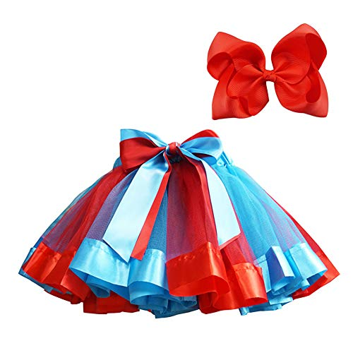 Bingoshine Layered Ballet Tulle Rainbow Tutu Skirt for Little Girls Dress Up with Colorful Hair Bows (Red Rainbow, L,4-8 Age)