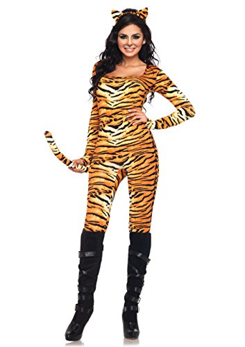 (Leg Avenue Women's 2 Piece Wild Tigress Catsuit Costume, Orange/Black,)
