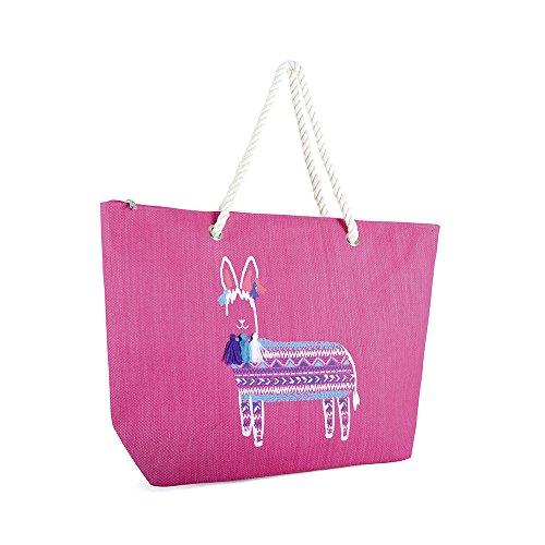 Luna Cove Ladies Paper Straw Shoulder Bag with Rope Handle Pink Llama Pink Llama