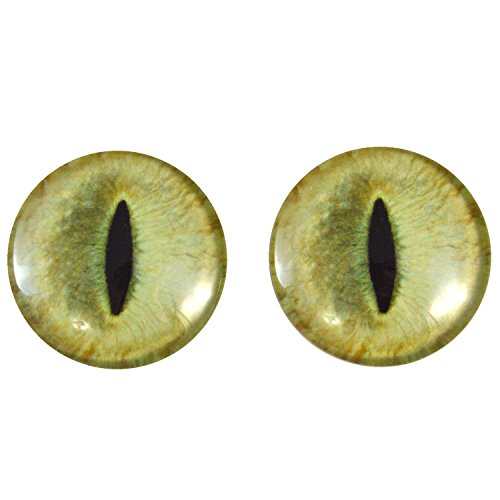 Flat Round Wire Wrapped Beads (40mm Pair of Large Pale Yellow Cat Glass Eyes, for Jewelry making, Arts Dolls, Sculptures, and More)