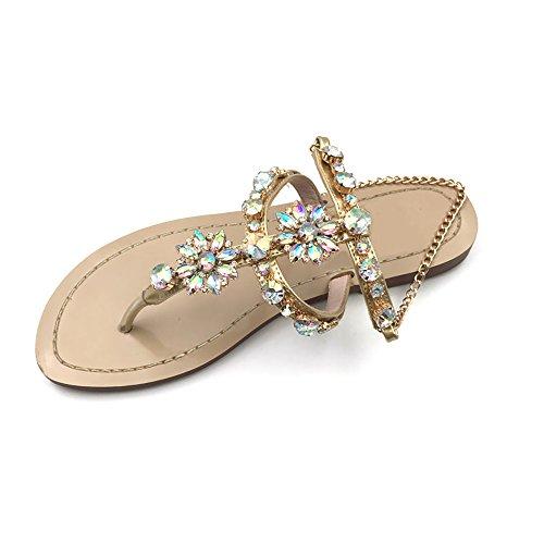 2017 Women Rhinestones Chains Flat Sandals Plus Size 1625 (US 7.5 / EU 38 / CN 38, Apricot) (Rhinestone Sandals)