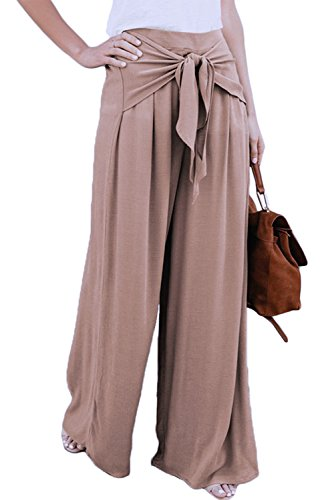 FUSENFENG Womens Plus Size Casual High Waist Wide Leg Palazzo Pants Trousers