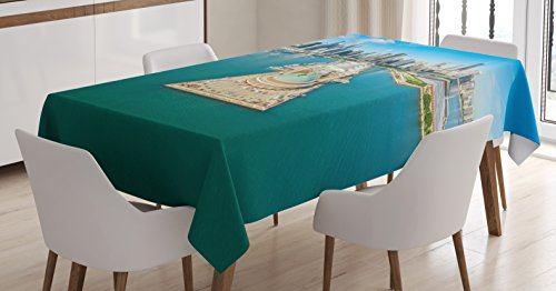 Ambesonne Chicago Skyline Tablecloth, Aerial Panorama of Navy Pier Marine Metropolis Big City Silhouette View, Dining Room Kitchen Rectangular Table Cover, 60
