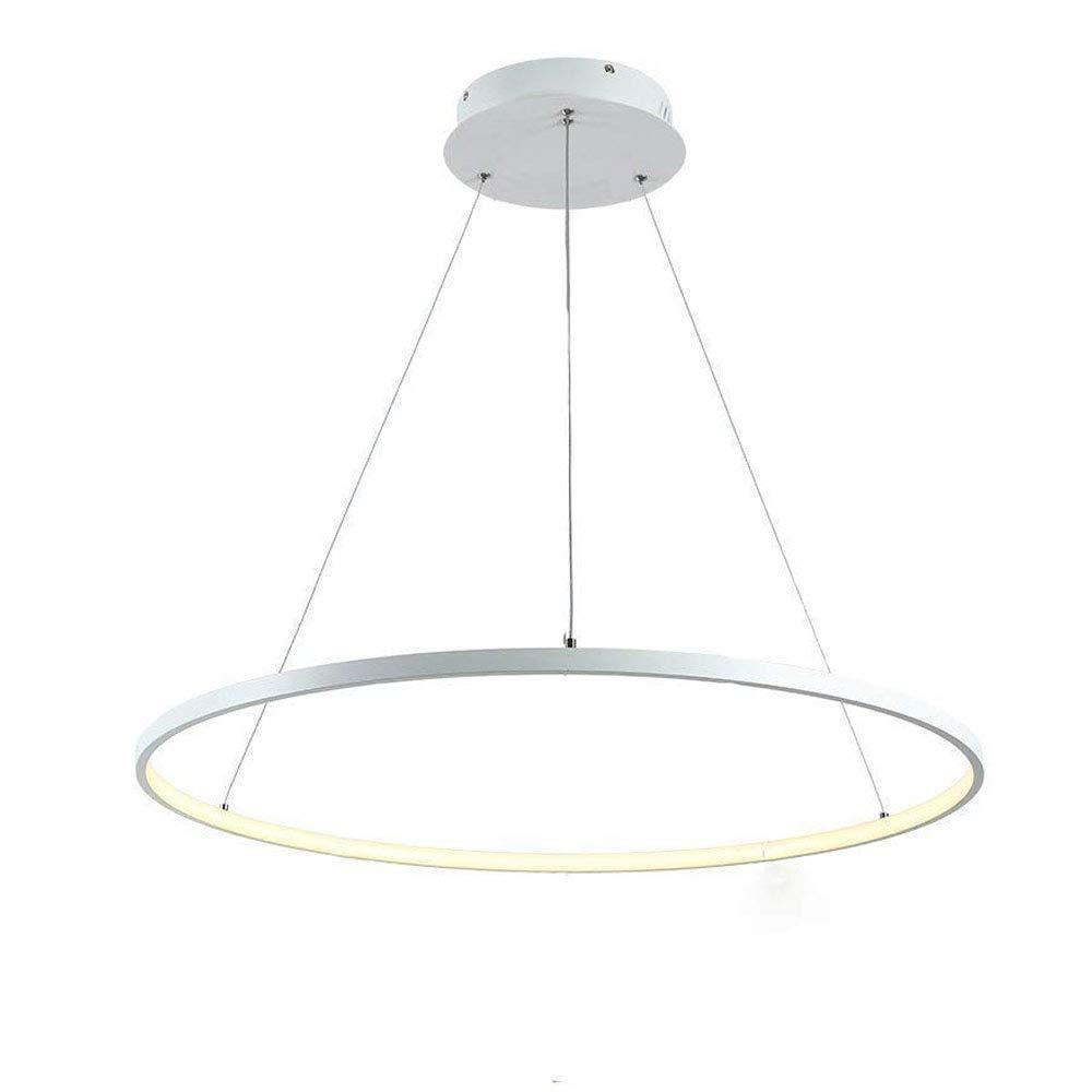 Modern LED-Pendellampe Rund Ring Design Hängeleuchte Weiß Aluminium Acryl Pendelleuchte Innen Decken Lampen Wohnzimmer Esstisch Schlafzimmer Esszimmer Büro,3000K Warm Licht,φ60CM