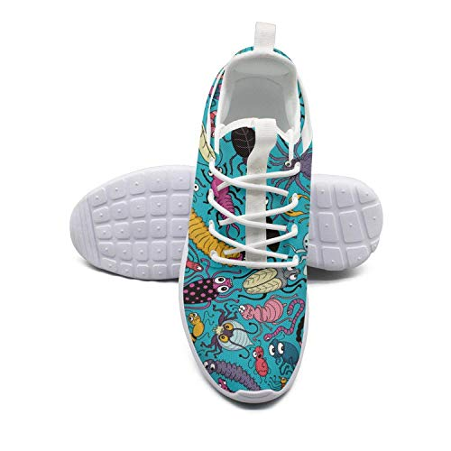 Saerg Bearry Women's Insects Caterpillars Bugs Patterns Lightweight Mesh Running Shoes Athletic Sneakers