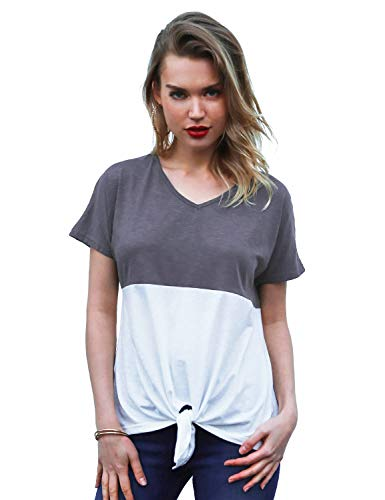 Blooming Jelly Womens Tie Front Shirt Short Sleeve V Neck Tshirt Color Block Casual Tops Basic Tees(Large, Dark Grey)