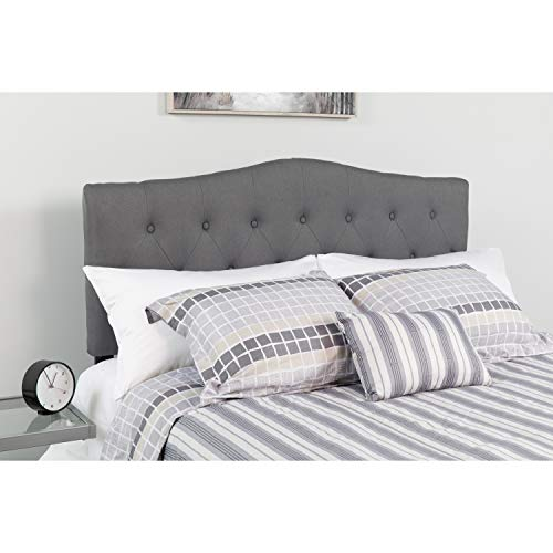 Flash Furniture Cambridge Tufted Upholstered Full Size Headboard in Dark Gray Fabric,