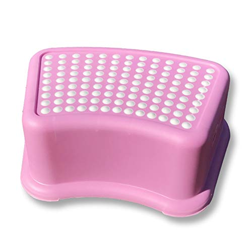 (Footstool Footrest Foot Stool Plastic Non-Slip Small Bench Wash Pad HUYP (Color : Pink))