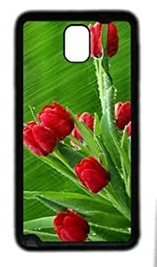 Beautiful Red Flowers Fit Samsung Galaxy Note 3 N9000 Black Rubber Material Cover hjbrhga1544