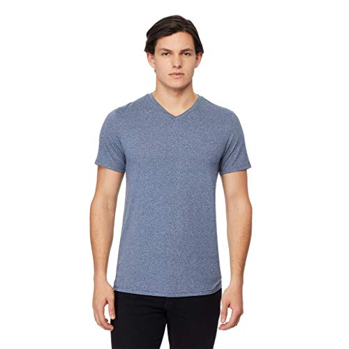 (32 DEGREES Mens Cool Vneck Tee, Deep Pacific Heather,)