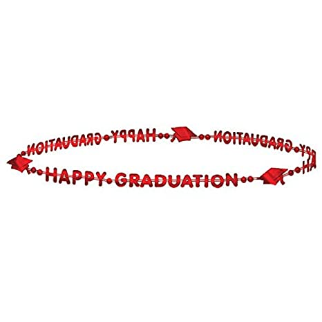 Amscan Flying Colors Graduation Bead Necklace Party Favour Red Plastic 32 Pack of 3