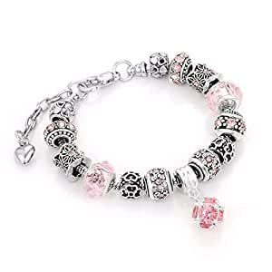european style snake chain beads charm bracelet with pink color rhinestone crystals