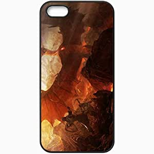 Personalized iPhone 5 5S Cell phone Case/Cover Skin Art Dragon Rocks War Archer Spear Black hjbrhga1544