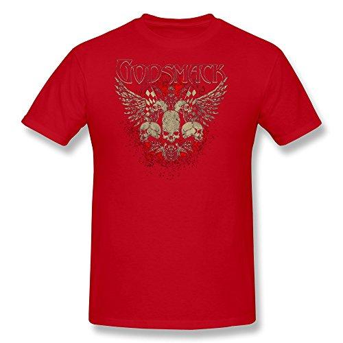LENOJE Men's Godsmack Halloween Skull Logo Cotton T Shirts Red M]()