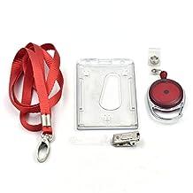 Fujiyuan 1 Set Neck Band Lanyard ID Card Holder Horizontal style 2 Strap Clip Red Retractable Badge Reel
