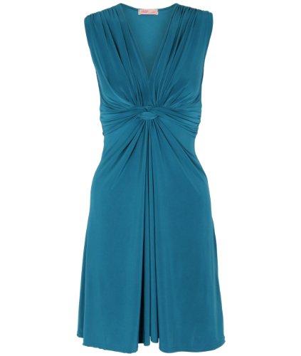 Knot Jersey Dress (KRISP Women's Ruched Drape Twist Knot Mini Dress, TEAL, Size)