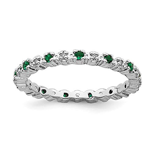 - 925 Sterling Silver Created Green Emerald Diamond Band Ring Size 6.00 Stone Stackable Gemstone Birthstone May Fine Jewelry Gifts For Women For Her