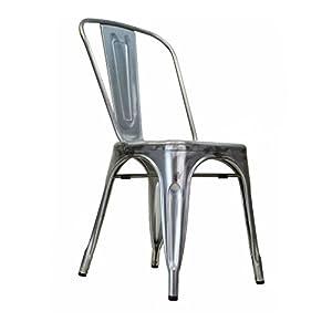 Wonderful Design Tree Home Tolix Side Chair In Gun Metal Galvanized Steel