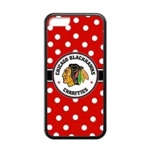 Chicago Blackhawks Polka Dots design on a Black Case For Ipod Touch 4 Cover Shell (Laser Technology)